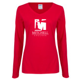 Ladies Red Long Sleeve V Neck Tee-Mitchell College Vertical Logo
