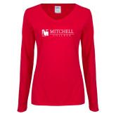 Ladies Red Long Sleeve V Neck Tee-Mitchell College Horizontal Logo