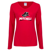 Ladies Red Long Sleeve V Neck Tee-Mitchell W Mariner
