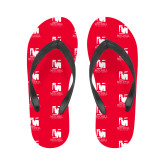 Ladies Full Color Flip Flops-Mitchell College Vertical Logo