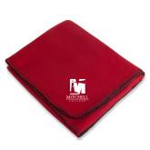 Red Arctic Fleece Blanket-Mitchell College Vertical Logo
