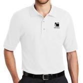 White Easycare Pique Polo-Mitchell College Vertical Logo