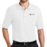White Easycare Pique Polo-Mitchell College Horizontal Logo