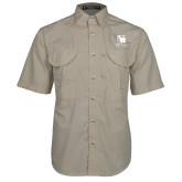 Khaki Short Sleeve Performance Fishing Shirt-Mitchell College Vertical Logo