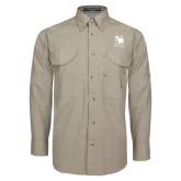 Khaki Long Sleeve Performance Fishing Shirt-Mitchell College Vertical Logo