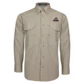 Khaki Long Sleeve Performance Fishing Shirt-Primary Athletics Mark