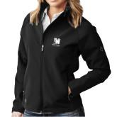 Ladies DRI DUCK Contour Black Softshell Jacket-Mitchell College Vertical Logo