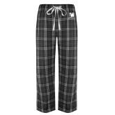 Black/Grey Flannel Pajama Pant-Mitchell College Vertical Logo