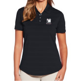 Ladies Callaway Horizontal Textured Black Polo-Mitchell College Vertical Logo
