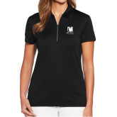 Ladies Callaway Tulip Sleeve Black Zip Polo-Mitchell College Vertical Logo