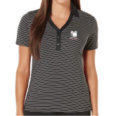 Ladies Callaway Core Stripe Black/White Polo-Mitchell College Vertical Logo