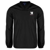 V Neck Black Raglan Windshirt-Mitchell College Vertical Logo