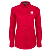 Ladies Red Twill Button Down Long Sleeve-Mitchell College Vertical Logo