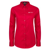 Ladies Red Twill Button Down Long Sleeve-Mitchell College Horizontal Logo