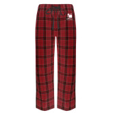 Red/Black Flannel Pajama Pant-Mitchell College Vertical Logo