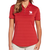 Ladies Callaway Horizontal Textured Deep Red Polo-Mitchell College Vertical Logo