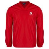 V Neck Red Raglan Windshirt-Mitchell College Vertical Logo