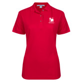 Ladies Easycare Red Pique Polo-Mitchell College Vertical Logo