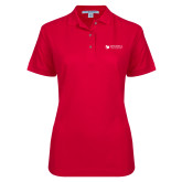 Ladies Easycare Red Pique Polo-Mitchell College Horizontal Logo