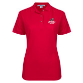 Ladies Easycare Red Pique Polo-Primary Athletics Mark