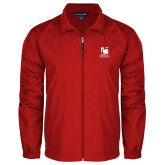 Full Zip Red Wind Jacket-Mitchell College Vertical Logo
