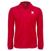 Fleece Full Zip Red Jacket-Mitchell College Vertical Logo