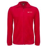Fleece Full Zip Red Jacket-Mitchell College Horizontal Logo