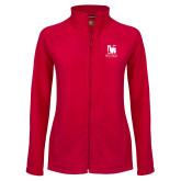 Ladies Fleece Full Zip Red Jacket-Mitchell College Vertical Logo