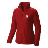 Columbia Ladies Full Zip Red Fleece Jacket-Mitchell College Vertical Logo
