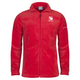 Columbia Full Zip Red Fleece Jacket-Mitchell College Vertical Logo