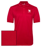 Red Dry Mesh Polo-Mitchell College Vertical Logo
