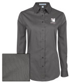 Ladies Grey Tonal Pattern Long Sleeve Shirt-Mitchell College Vertical Logo