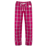 Ladies Dark Fuchsia/White Flannel Pajama Pant-Mitchell College Vertical Logo