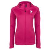 Ladies Tech Fleece Full Zip Hot Pink Hooded Jacket-Mitchell College Vertical Logo