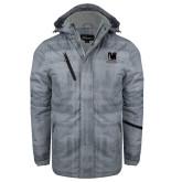 Grey Brushstroke Print Insulated Jacket-Mitchell College Vertical Logo