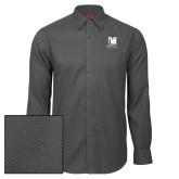 Red House Dark Charcoal Diamond Dobby Long Sleeve Shirt-Mitchell College Vertical Logo