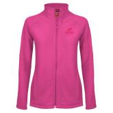 Ladies Fleece Full Zip Raspberry Jacket-Primary Athletics Mark