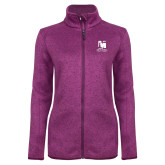 Dark Pink Heather Ladies Fleece Jacket-Mitchell College Vertical Logo