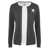 Ladies Charcoal Cardigan-Mitchell College Vertical Logo