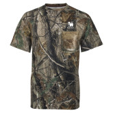 Realtree Camo T Shirt w/Pocket-Mitchell College Vertical Logo