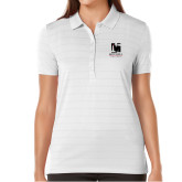 Ladies Callaway Opti Vent White Polo-Mitchell College Vertical Logo