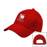 Red Heavyweight Twill Pro Style Hat-Mitchell College Vertical Logo