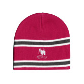Pink/Charcoal/White Striped Knit Beanie-Mitchell College Vertical Logo
