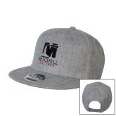 Heather Grey Wool Blend Flat Bill Snapback Hat-Mitchell College Vertical Logo