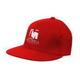 Red OttoFlex Flat Bill Pro Style Hat-Mitchell College Vertical Logo