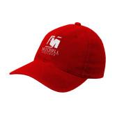 Red Flexfit Structured Low Profile Hat-Mitchell College Vertical Logo
