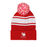 Red/White Two Tone Knit Pom Beanie w/Cuff-Mitchell College Vertical Logo