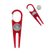 Red Aluminum Divot Tool/Ball Marker-Mitchell College Vertical Logo Engraved