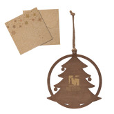 Wood Holiday Tree Ornament-Mitchell College Vertical Logo Engraved