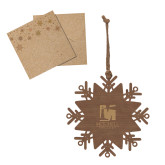 Wood Snowflake Ornament-Mitchell College Vertical Logo Engraved